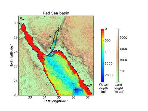 Red Sea basin and bathymetry